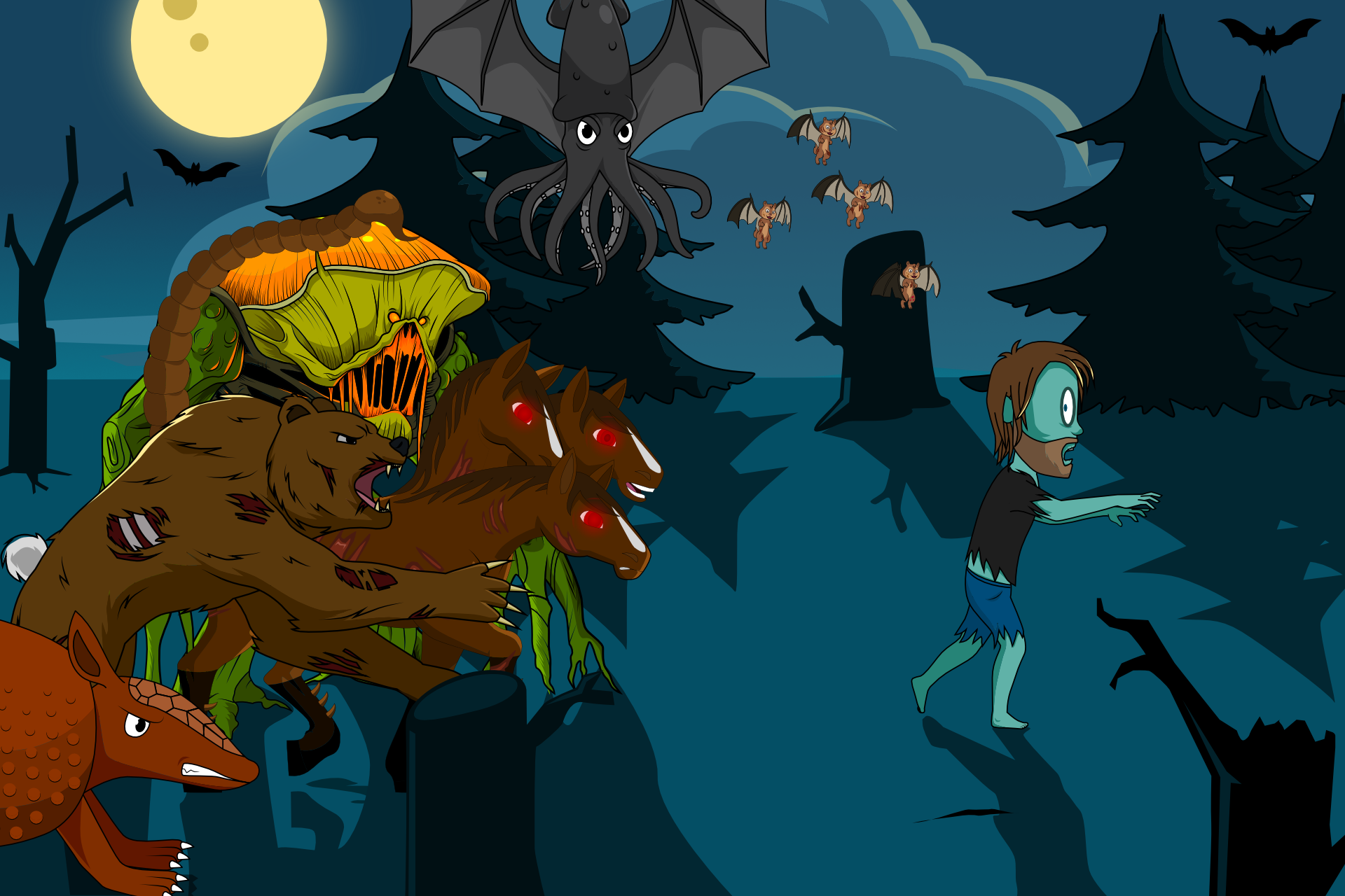 Yaki' the zombie running from a wide variety of post-apocalyptic creatures including a werebear, flying squid, scorpion-tailed horse, and more
