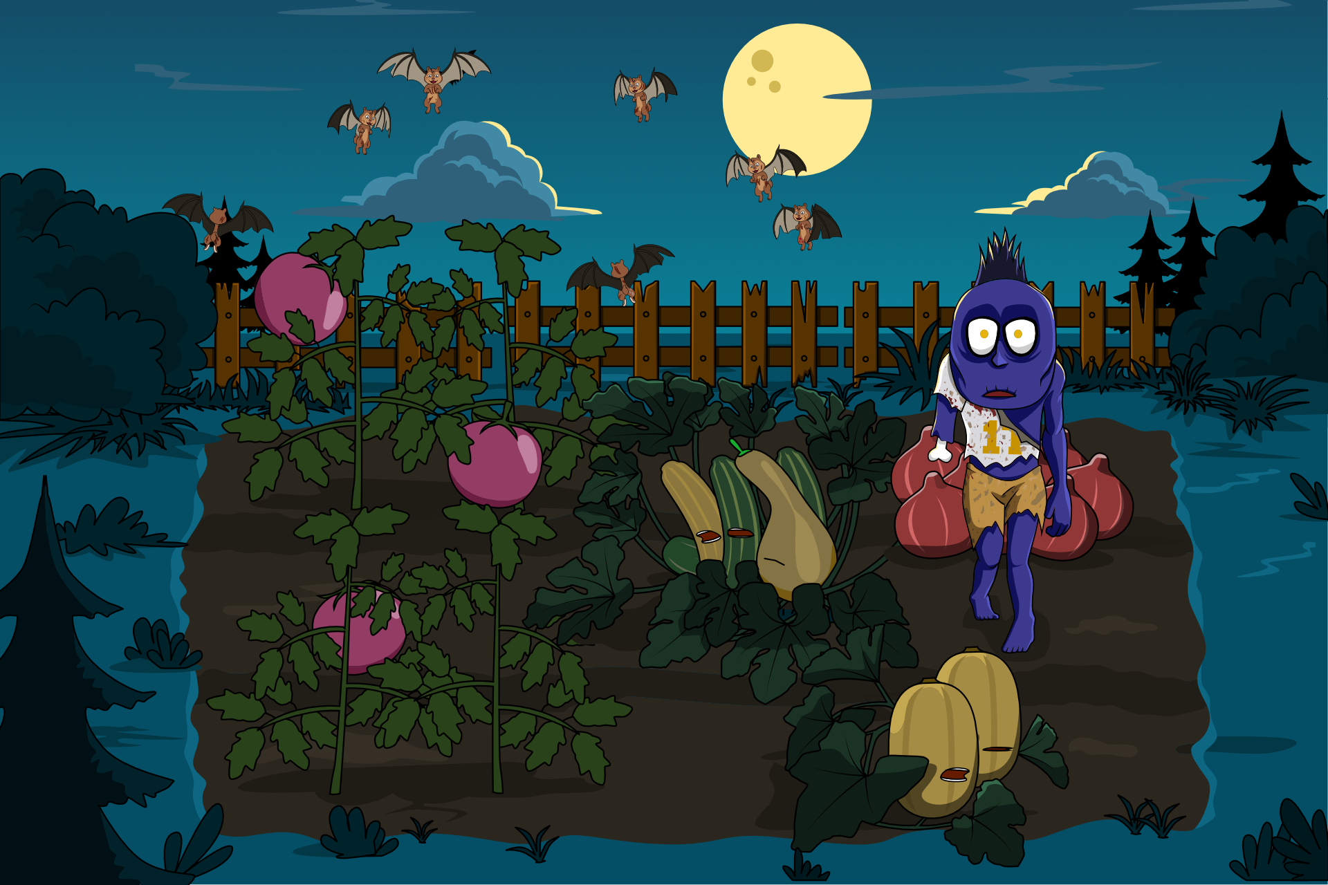 Okl'n the zombie in his failing garden surrounded by vampire bat, chipmunk hybrids