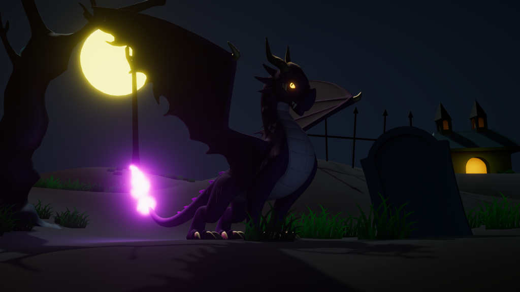 An adult streak (dragon) sitting boldly in the graveyard moonlight with its tail aglow