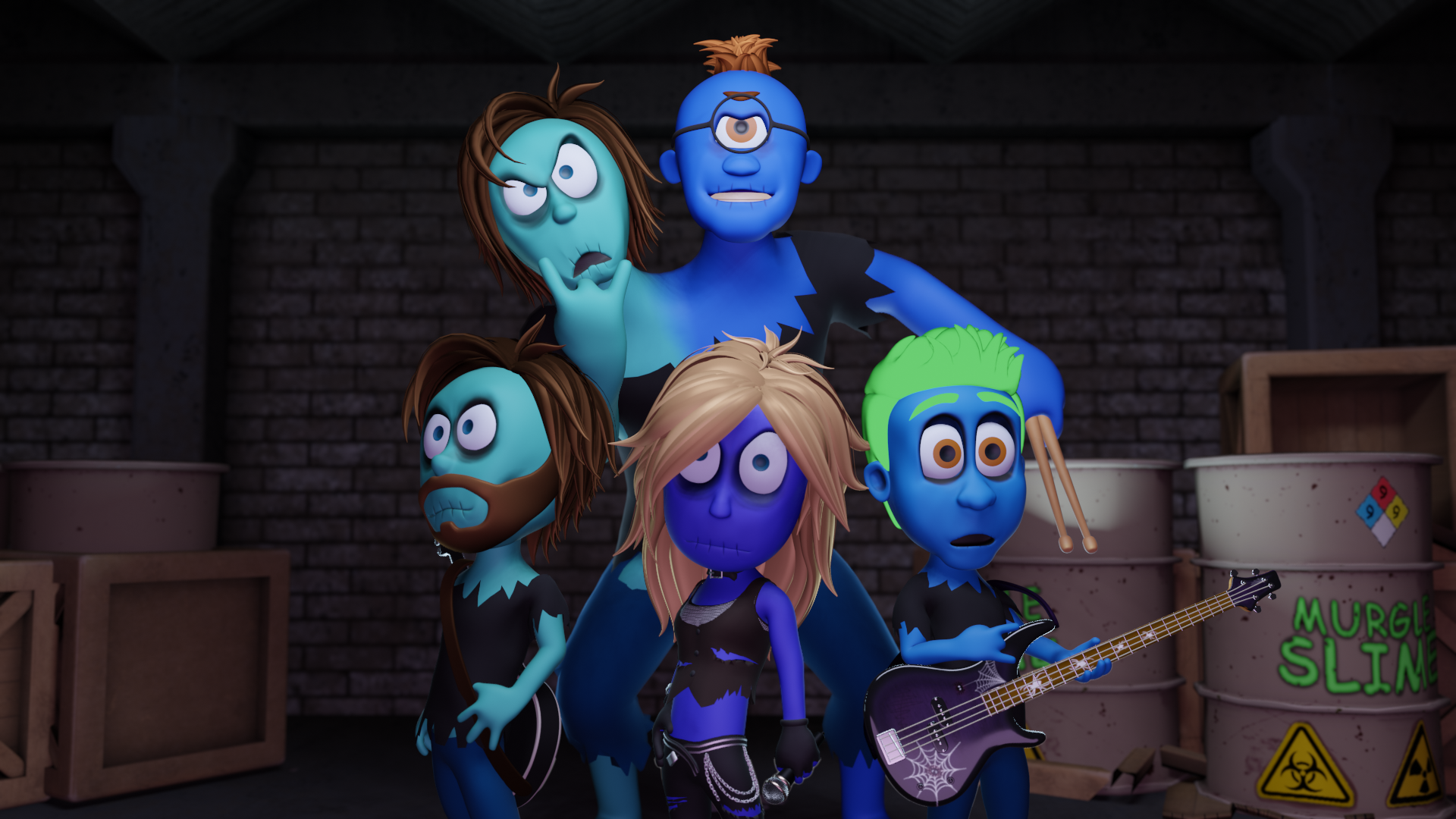Three zombie and one giant two-headed zombie who are band members of Riff in Peace posing for a band photo