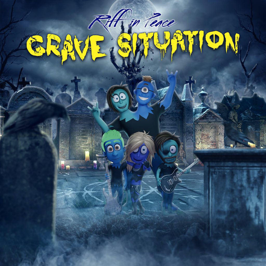 The Grave Situation album cover showing the band posing in the middle of a graveyard