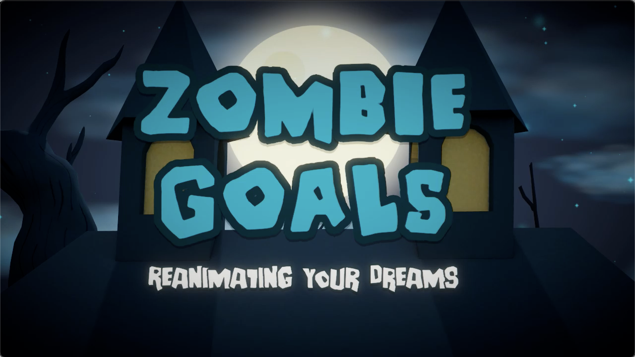 """The Zombie Goals logo with the tagline """"reanimating your dreams"""" in front of a cartoonish 3D crypt with a large moon in the background"""