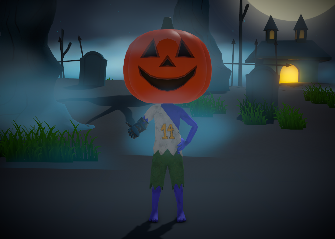 Okl'n the zombie with a Jack-o-Lantern head standing in a graveyard