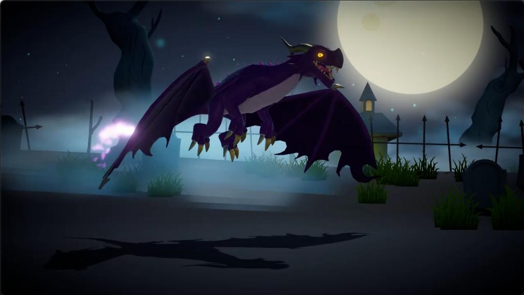 A purple dragon (streak) hovering in a graveyard with it's wings spread