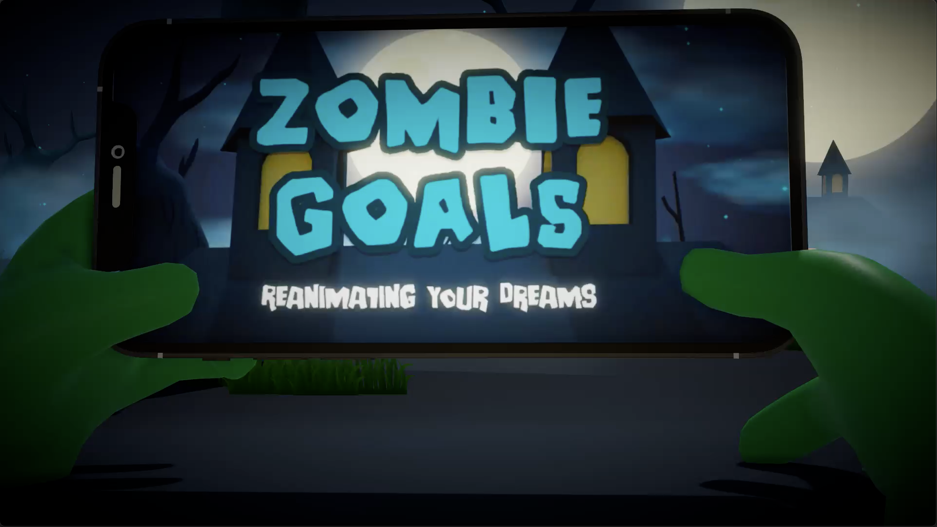 Zombie hands in a graveyard holding an iPhone in landscape with the Zombie Goals app open on it